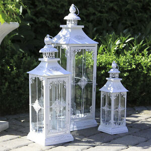 Laternenset-CHALET-weiss-shabby-chic-3-teilig-Landhaus-Laterne-antikweiss