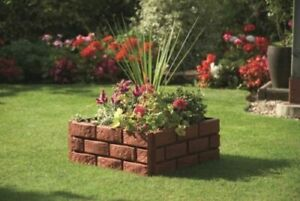 Terracotta Brick Wall Garden Edging Fence Plants Shrubs Path
