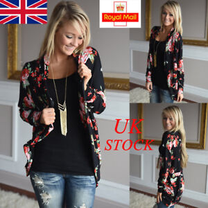35234d7957 UK Womens Ladies Long Sleeve Floral Cardigan Outwear Coat Top Causal ...