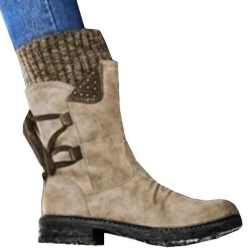 Womens Ladies Winter Warm Snow Boots Fleece Fur Lined Mid Calf Ankle Boots Shoes