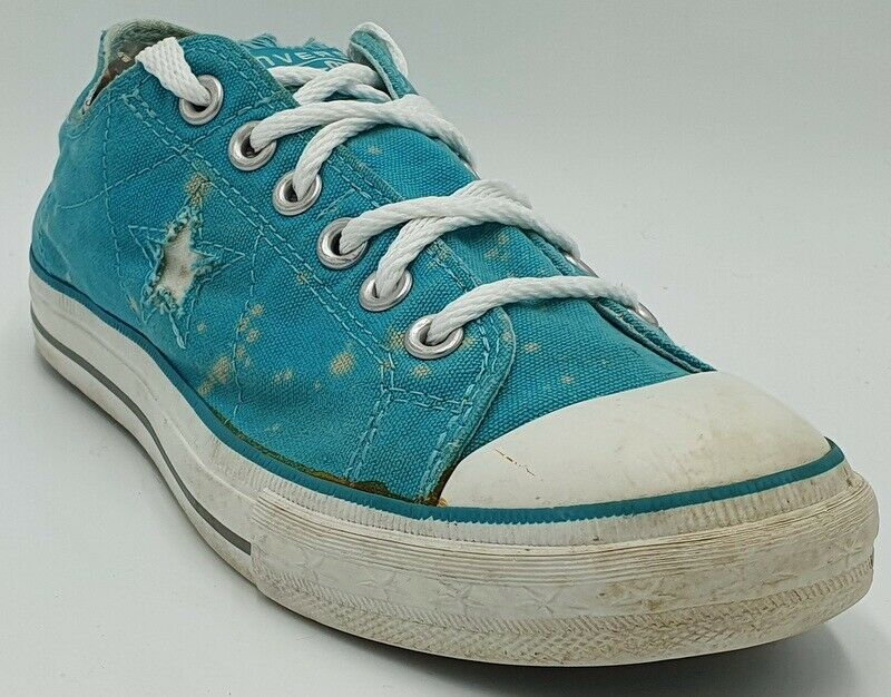Converse One Star Low Canvas Trainers 514970FT Turquoise/White UK6/US8/E39