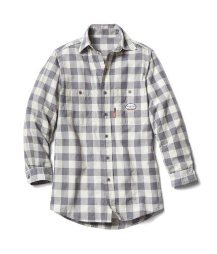 GPS764 Flame Resistant Gray and White Plaid Work Shirt