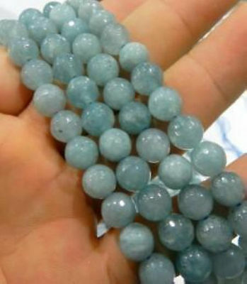 """AAA 8mm Aquamarine Faceted Gems Round Loose Beads 15"""""""