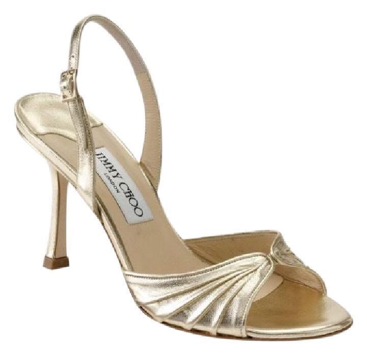 Jimmy Choo Gold King Slingback Sandal Open Toe Metallic Heel Pelle 42 11 Italy