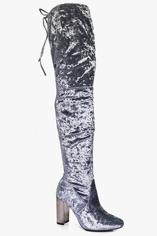 Lydia Velvet Thigh High Block Heel Boot- Grey UK 4 EU 37 JS41 46