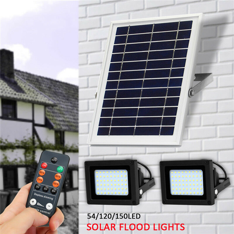 Solarleuchte LED Flutlicht Gartenlampe Wandleuchte Mit Erdspieß Fernbedienung