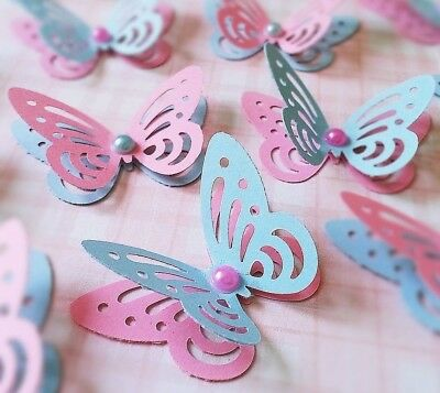 100 X 3D PAPER BUTTERFLIES TABLE CONFETTI CARD TOPPERS