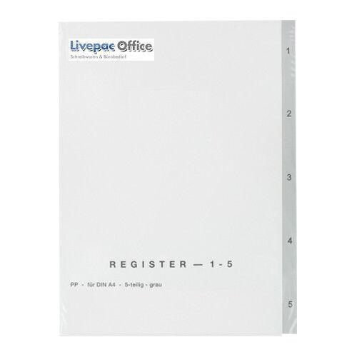 DIN A4 Farbe 5tlg. 10x Ordner Register 1-5 grau