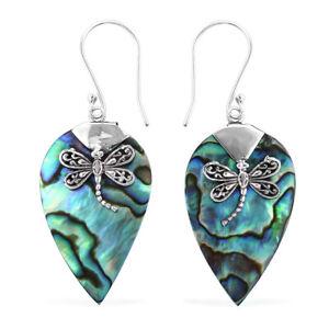 Dangle-Drop-Earrings-925-Sterling-Silver-Abalone-Shell-Women-Jewelry