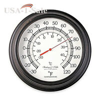 10-inch Outdoor Indoor Home Garden Thermometer Tin Bronze Wall Clock Style