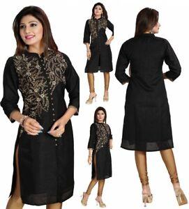 Women-Indian-Long-Black-Raw-Silk-Kurti-Tunic-Kurta-Shirt-Dress-Embroidery-BD345