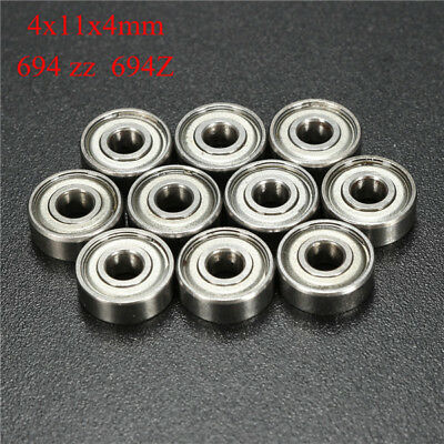 10pcs F694ZZ Steel Double-shielded Miniature Flanged Ball Bearings 4x11x4mm