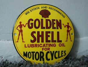 VINTAGE-SHELL-GASOLINE-PORCELAIN-SIGN-GAS-OIL-METAL-STATION-PUMP-PLATE-AD-CLAM