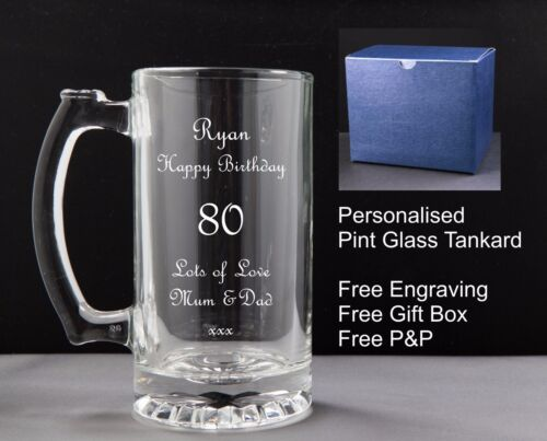 Birthday Gift 50th 52nd 54th 56th 57th 59th Personalised 500ml Glass Tankard