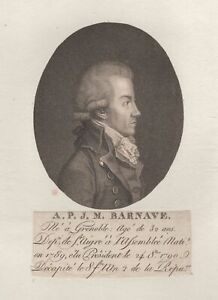 Portrait-de-Antoine-Barnave-Revolution-Gravure-originale-XIXeme