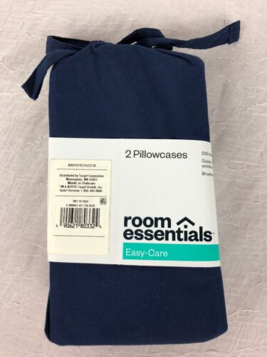 Room Essential Easy Care 2 Pillowcases*Solid Navy Blue*Standard*Soft*NWT*Z11