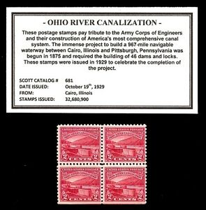 1929-OHIO-RIVER-CANALIZATION-681-Block-of-Vintage-Mint-U-S-Postage-Stamps