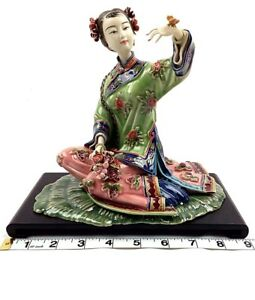 Vintage-Sitting-Chinese-Girl-Figure-in-Flowery-Dress-Pottery-Porcelain-Art