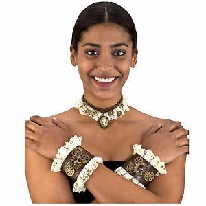 Adult Women's Steampunk Choker & Wristband Set Halloween Costume Accessory Kit