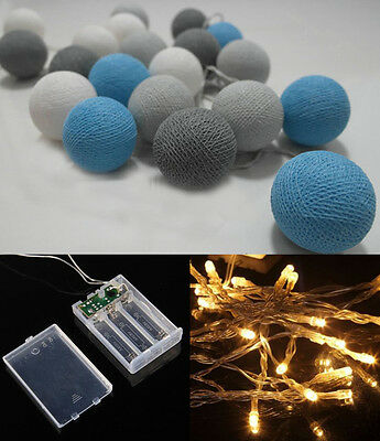 Battery Operated LED 20 mixed Gray Blue  Cotton Ball String Lights Fairy