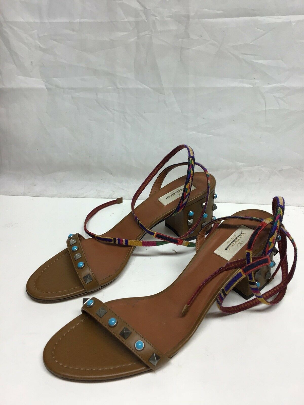 Valentino Brown studded mutlicolor Sandals EU41 US10