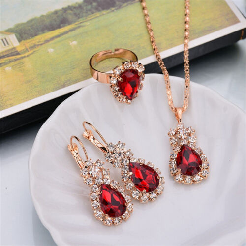 Party Womens Jewelry Set Gifts Pendant Wedding New Elegant Water Drop Crystal