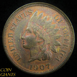 1907 1c Indian Head Cent Penny AU About Uncirculated