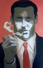 Mad Men 20x16 oil painting, iconic TV, Jon Hamm,framing avail. 1 of 4 designs