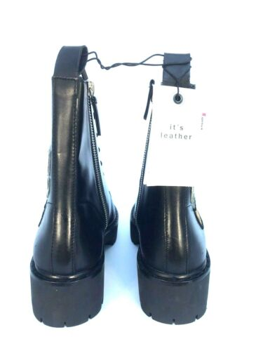 ZARA BLACK LEATHER MILITARY PATCH ANKLE BOOTS SIZE UK 5 7 REF 5158//101 RRP £110