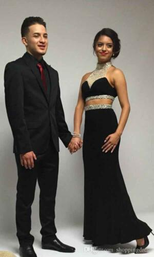 2 Pieces Black Beading Formal Pageant Evening Dress Party Prom Celebrity Gown