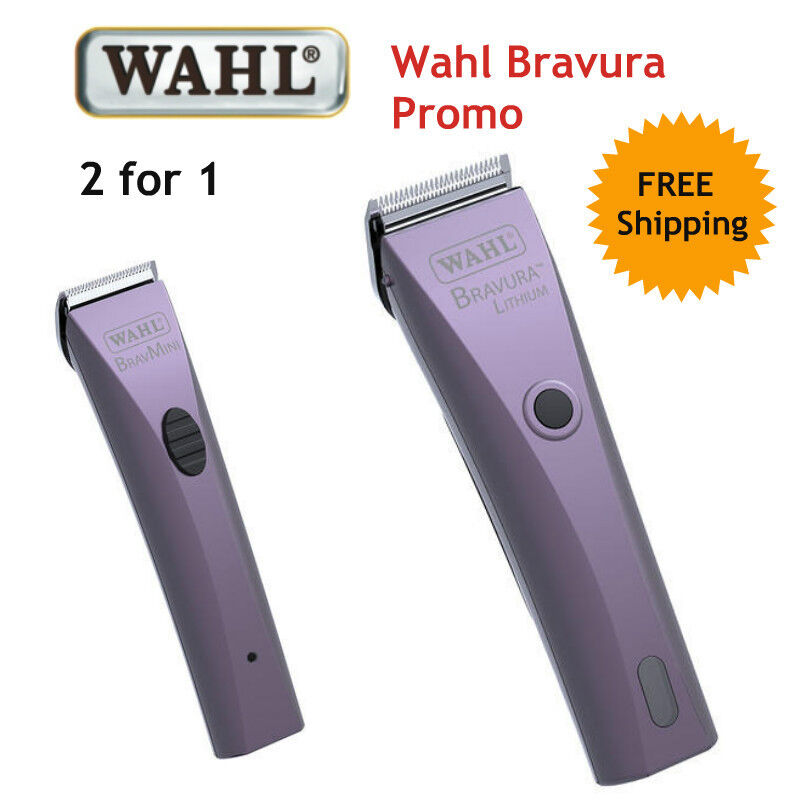 WAHL BRAVURA CLIPPER Trimmer PROMO SET - Includes Mini Trimmer CLIPPER Horse Dog Set Blades 30387c
