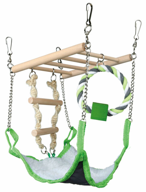 Hamster Cage Hanging Climbing Frame with Ladder Hammock & Loop Toy
