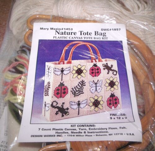 Design Works NATURE TOTE PURSE Plastic Canvas KIT Ladybugs Flowers and More!
