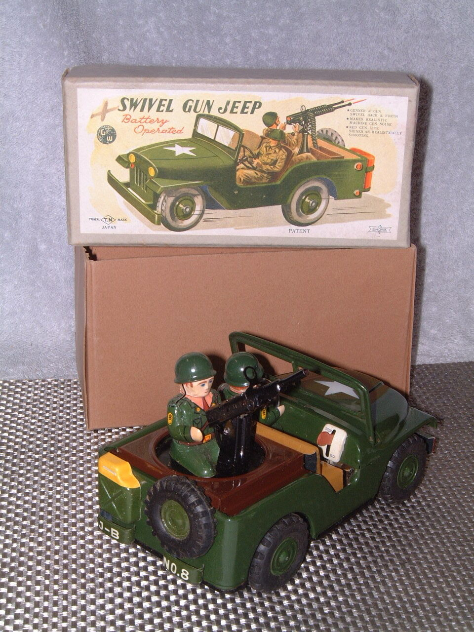 VINTAGE NOMURA SWIVEL GUN JEEP BATTERY OPERATED, FULLY WORKING W ORIGINAL BOX