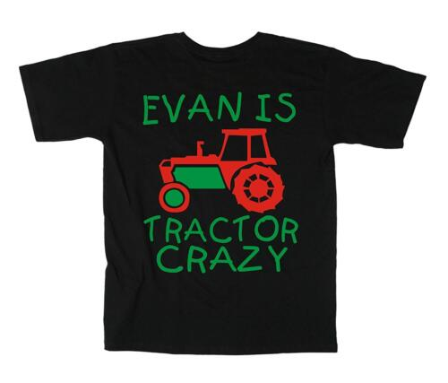 PL PERSONALISED TRACTOR CRAZY WITH NAME/' Boy/'s t-shirt with red and green print