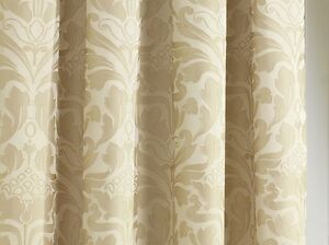 NATURAL-Gold-3-034-Top-Tape-Lined-Ready-Made-Curtains-Jacquard-Damask-Modern-Luxury