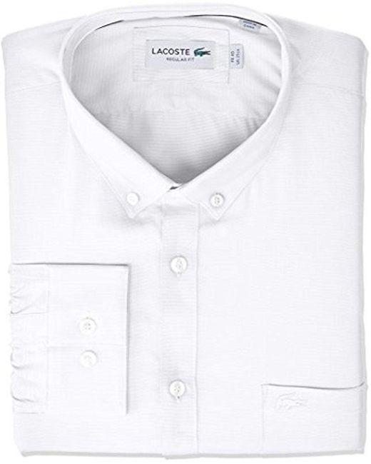 NIP Lacoste  Herren Größe Large 15-3/4 Weiß Long Sleeve Reg Fit Pique Dress Shirt