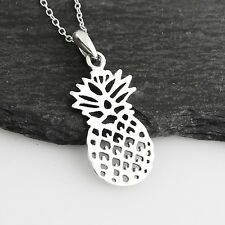 Flat Pineapple Necklace - 925 Sterling Silver - Cutout Pendant Hawaii Fruit NEW