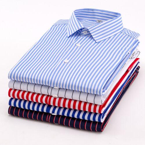 New Summer Mens Striped Casual Formal Short Sleeve Business Dress Shirt D162
