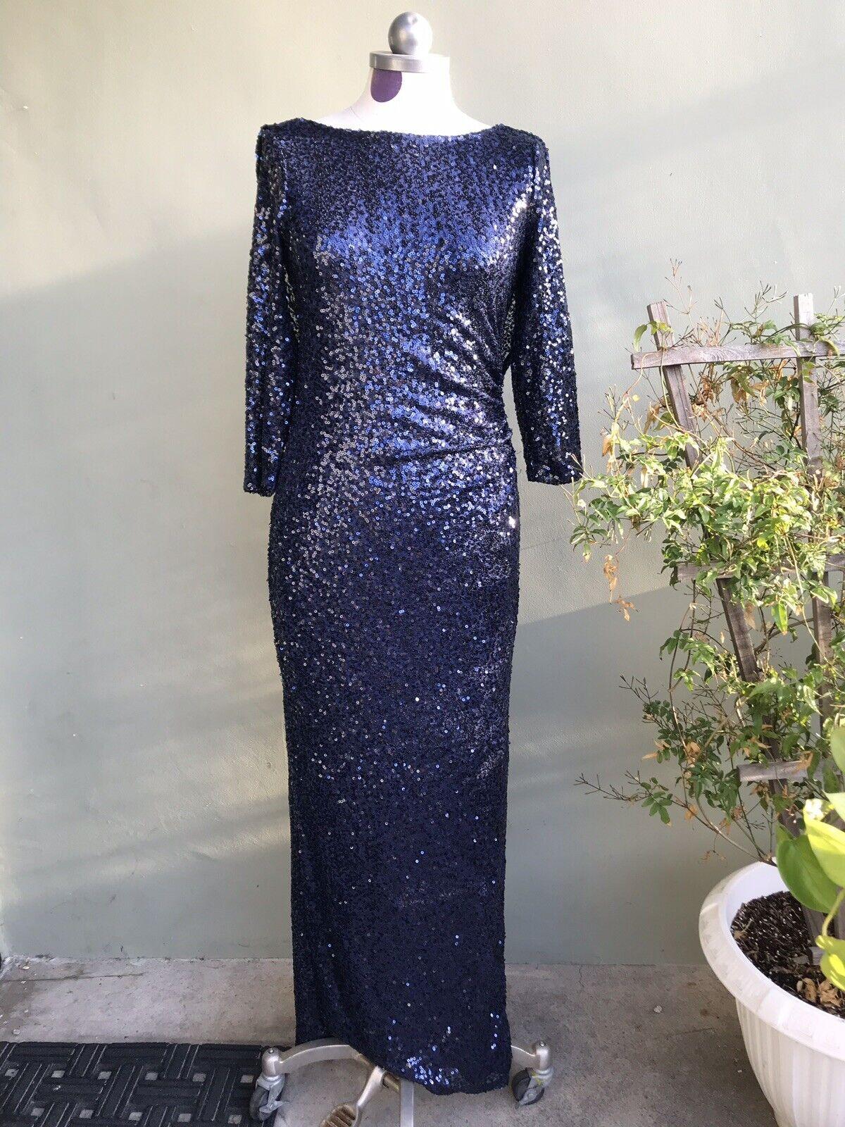 NWT MARINA Scoop Back Cutout Navy Blau Dress Sequin Formal Long Sleeve Größe 4