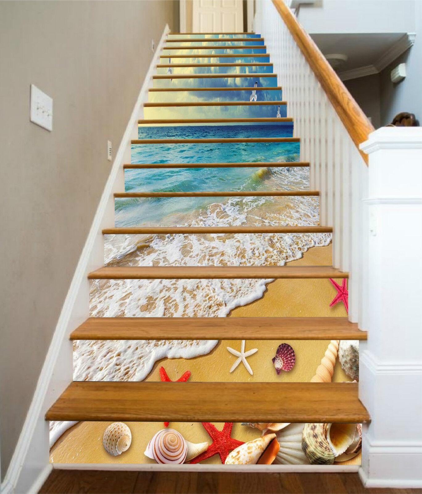 3D Schöne Strand 20 Stair Risers Dekoration Fototapete Vinyl Aufkleber Tapete DE