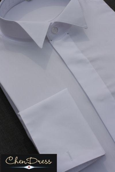 Frackhemd Smokinghemd Kläpchenkragen WEISS 100 % Baumwolle EU Qualität