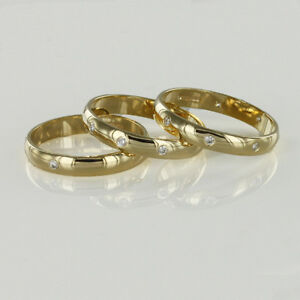 18ct-Hallmarked-Yellow-Gold-Diamond-Set-3mm-Wedding-Rings-Finger-Size-H-To-Q