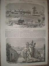 Opening Calcutta Delhi Lahore India railway Burdwan station 1855 old print