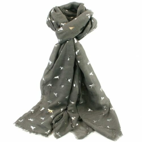 BLUE /& GREY LABRADOR LOVERS! MULTI COLOURED FOIL PRINT SCARF AVAILABLE IN BLACK