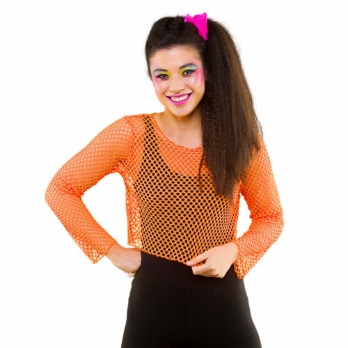 Fishnet Long Sleeve Top 1980s Fancy Dress Neon Accessory 80s Outfit Accessory