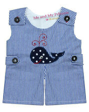 BOY SUMMER STRIPED WHALE ROMPER for 15 inch American Bitty Baby Doll clothes