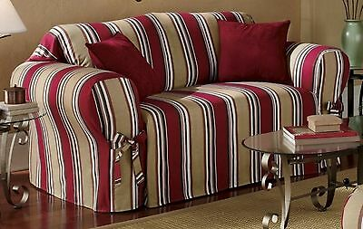 Red/Khaki Stripe All Cotton Sofa/Couch/Loveseat/Arm Chair Slipcover | eBay