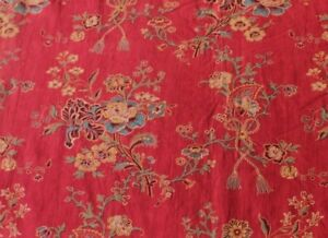 """French Antique Floral Turkey Red Heavy Home Cotton Fabric c1850-60~3yd21""""L"""