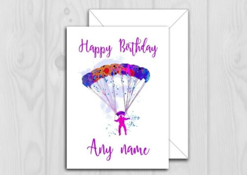 PERSONALISED PARACHUTE BIRTHDAY CARD SKYDIVING WATERCOLOUR 5X7 INCHES 1